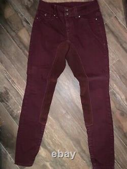 2K Gray Full Seat Breeches. Dark Red Size 27. Great Condition! Stunning