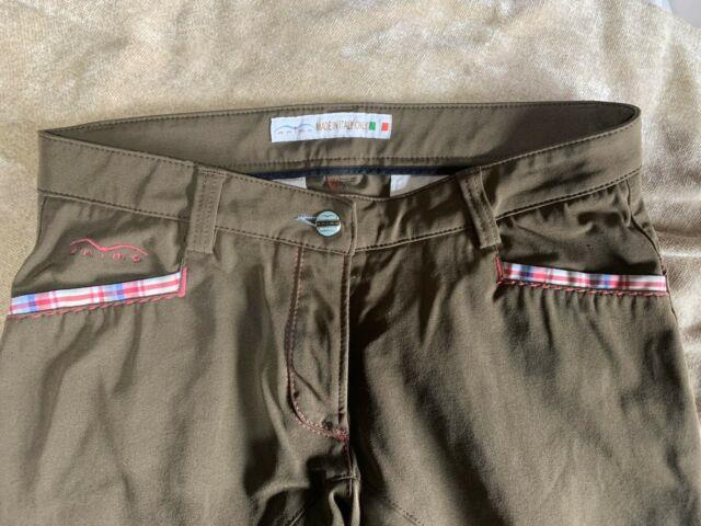 Animo Full Seat Brown Riding Breeches Pink Accents Made In Italy Sz I-42