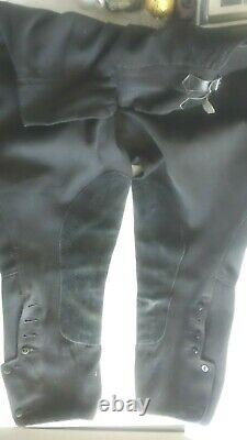 Antique 1930s Womens Black Equestrian Riding Breeches Pants-Leather Patches