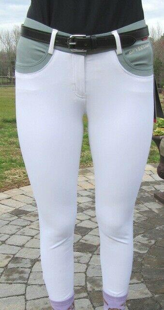 B-vertigo Melissa Breeches Withfull Silicone Seat In White Withslate Contrast Sale