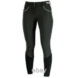 C-L-40 28 Horze Womens Nordic Performance Full Seat Breeches Silicone Grip Black