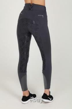 Chillout Horsewear High Waist Floral Silicone Full Seat Breeches Dark Grey