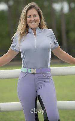 FITS PerforMAX Full Seat Leather Breech withZip Front Slash Pockets-M-Purple Haze