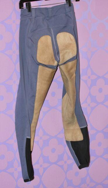 Fits Riding Performax Competition Breech Full Seat Deerskin Tights Sm Blue/tan