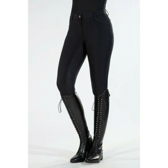 Hkm Rosegold Glamour Full Seat Silicone Breeches Black With Rose Gold Crystals