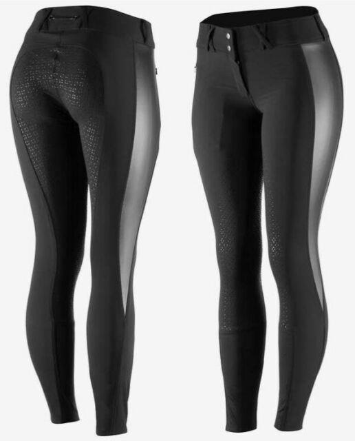 Horze Emelia Women's Silicone Full Seat Breeches Black With Pu Leather Accents