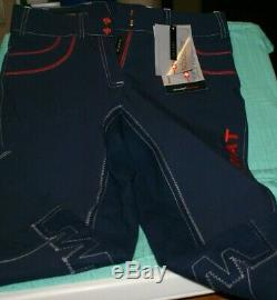 NWT Ariat Olympia PRO SERIES Full Seat Breeches REG. RISE NAVY BLUE/RED SZ. 32 REG