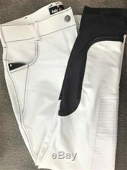 New FAIR PLAY, White full silicone Seat Competition Breeches, Sz (42) U. S. 30