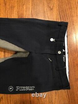 Pikeur Lucinda Full Seat Breeches Navy/Gray FS Size 28 PERFECT