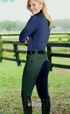 Romfh Sarafina Full Seat Breeches Vertical Stretch Suede 28L New Spruce Navy